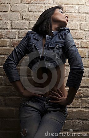 Elegant sexy brunette in jeans over brick wall