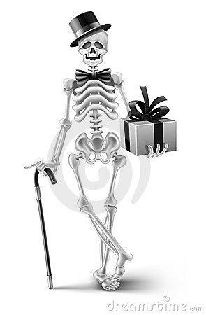 Elegant skeleton gentleman with a halloween gift