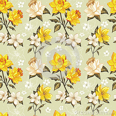 Free Elegant Spring Floral Seamless Pattern Royalty Free Stock Photography - 29433877