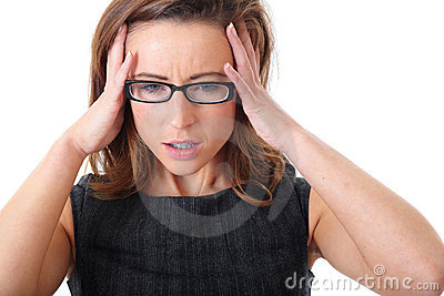 Elegant stressed businesswoman isolated on white