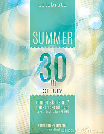 Elegant summer party invitation flyer template
