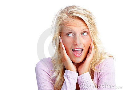 An elegant surprised woman isolated against white