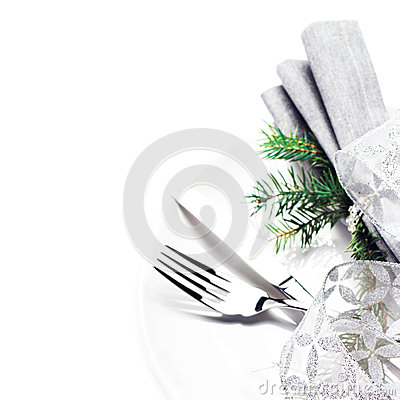 Elegant table setting place with festive decorations on white pl
