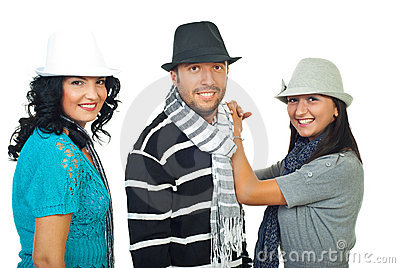 Elegant three people with hats
