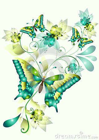 Free Elegant Vector Design With Butterflies Royalty Free Stock Image - 25075936