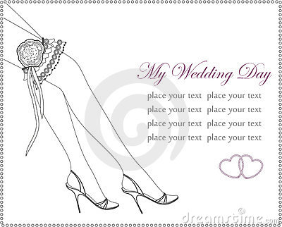 Elegant wedding invitation with bridal garter