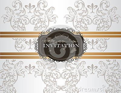 Elegant wedding invitation card in vintage style