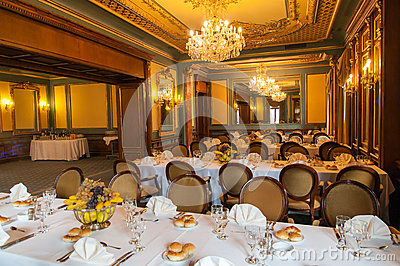 Elegant wedding reception hall ready for guests