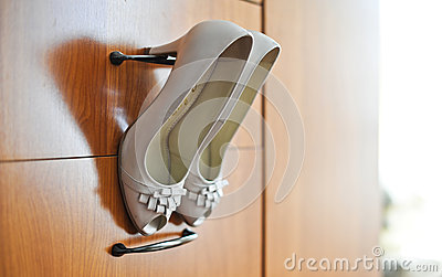 Elegant wedding shoes.