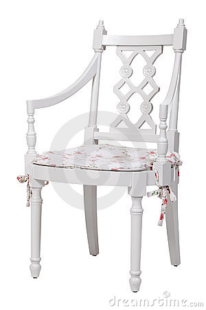 Elegant white dining chair, with clipping path