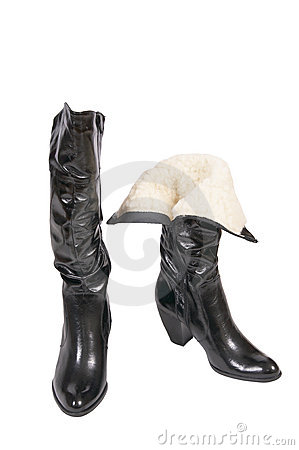 Elegant winter boots for women on a white.