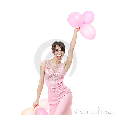 Elegant woman with air balloons