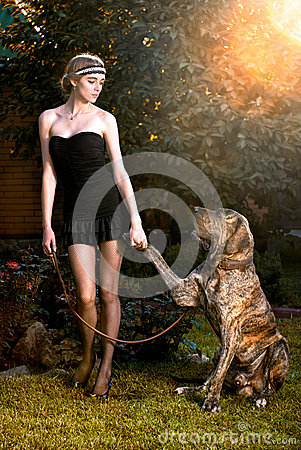 Elegant woman with big dog