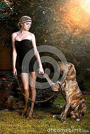 Elegant woman with big dog