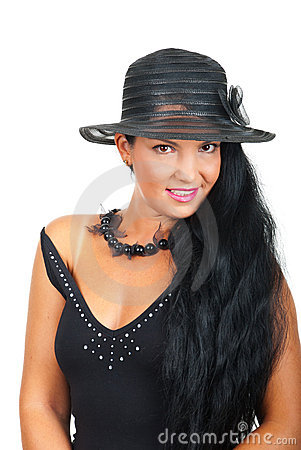 Elegant woman  with hat in black