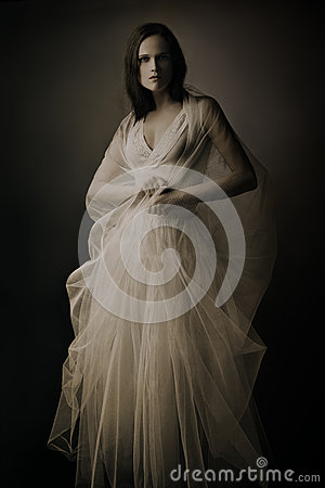 Elegant woman in long dress