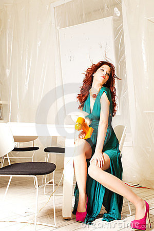 Elegant woman with retro fan