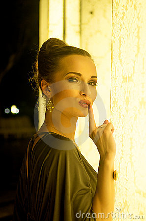 Elegant woman silent gesture