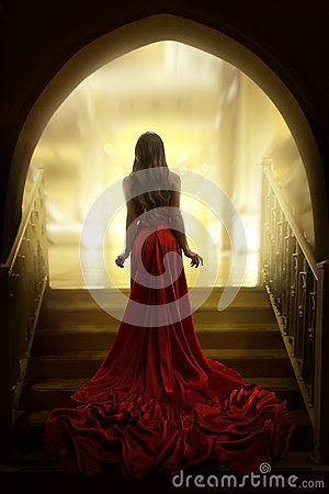 Free Elegant Woman Silhouette In Long Red Gown, Lady Back Rear View Stock Photos - 108791833