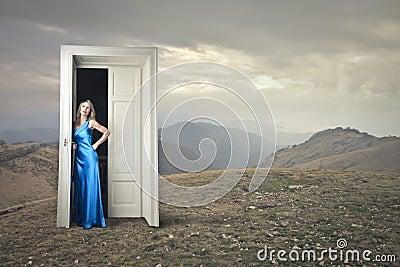 Elegant woman waiting