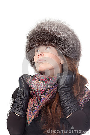 Elegant woman in winter outfit
