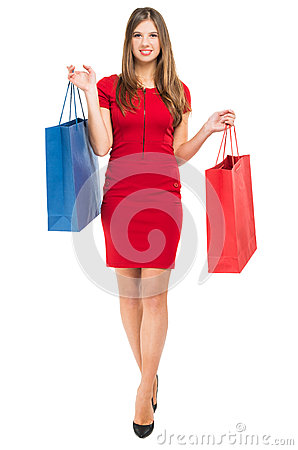 Free Elegant Woman With Shopping Bags Stock Images - 48679584