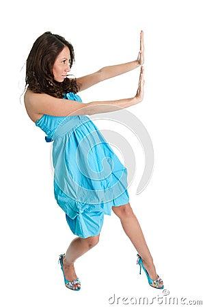 Elegant women pushing copyspace