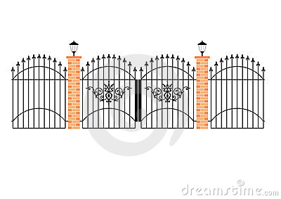 Elegant wrought iron gates wit