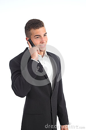 Elegant young businessman on the phone