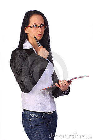 Elegant young businesswoman holding a clipboard