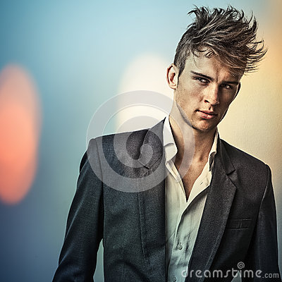 Free Elegant Young Handsome Man..Color Digital Painted Image Portrait Of Men Face. Royalty Free Stock Photography - 34344277