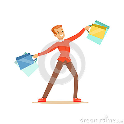 Elegant young handsome man in a red pullover with gift box and shopping bags colorful character vector Illustration Vector Illustration