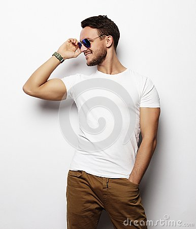 Free Elegant Young Handsome Man. Studio Fashion Portrait. Royalty Free Stock Photo - 109363075