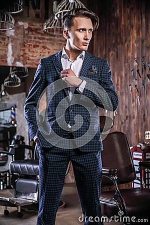 Free Elegant Young Man In Barbershop. Royalty Free Stock Photo - 87864335