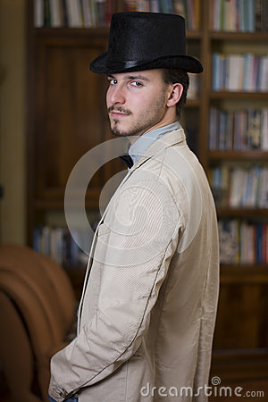 Free Elegant Young Man Wearing Top Hat And Bow Tie Stock Photos - 39497953