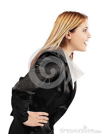Elegant young woman speaking in profile position