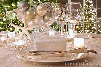 Elegantly lit  holiday dinner table