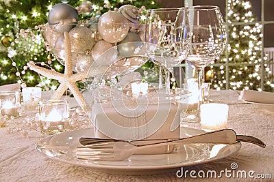 Elegantly lit  holiday dinner table
