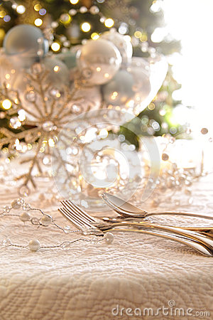 Elegantly lit holiday table