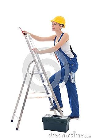 elektriker der jungen frau in der arbeitskleidung mit werkzeugkasten schraubenzieher stockfoto. Black Bedroom Furniture Sets. Home Design Ideas