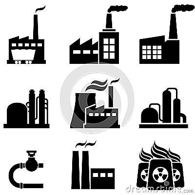 Elektrownie, fabryki i przemysłowi budynki,