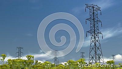 Elektryczność filary, timelapse chmury, akcyjny materiał filmowy zbiory wideo