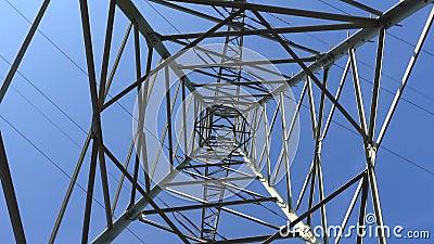 Elektryczny słup zasilający o niebieskim niebie, powolna rotacja kamery, wyszukująca słup od wewnątrz zbiory