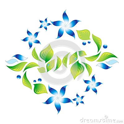Element of an ornament with blue flowers 4