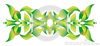 Element of an ornament with green foliage 2