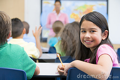 Elementary pupil in class