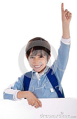 Free Elementary School Kid Raising His Hand Stock Photos - 12900113