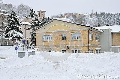 Elementary school in the snow
