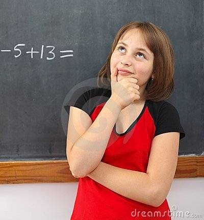 Elementary schoolgirl thinking on solution