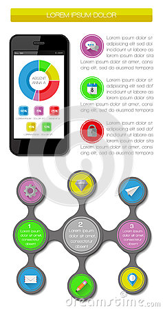 Elemente Ui, des infographics und des Netzes einschließlich flaches d